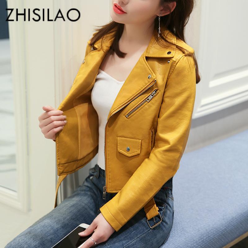 Zhisilao قصيرة سستة فو الجلود سترة صفراء pu منفذها دراجة نارية سترة زائد حجم الشتاء الصلبة بولير chaqueta الوردي فام