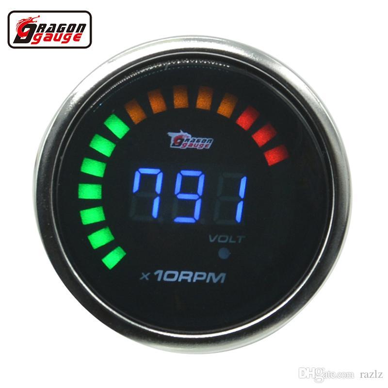 """2/"""" 52mm Black Shell Car Digital Red LED Tacho Tachometer LED Gauge With Holder"""