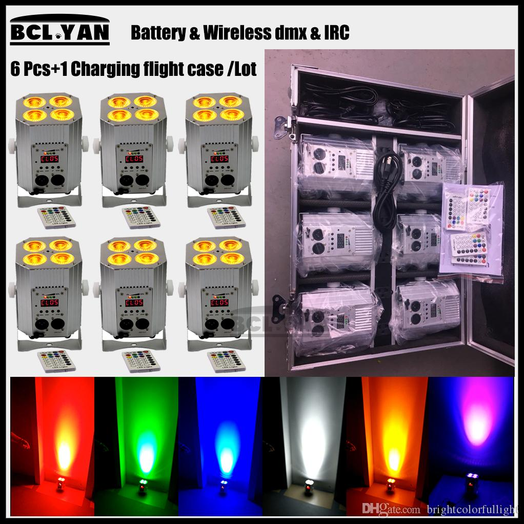 Fly case 6 IN1 4x18W RGBWA UV wireless DMX battery powered led wedding par uplighting light bars for remote free shipping