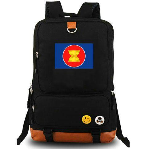 Southeast Asian backpack ASEAN day pack Nations school bag Casual packsack Computer rucksack Sport schoolbag Outdoor daypack