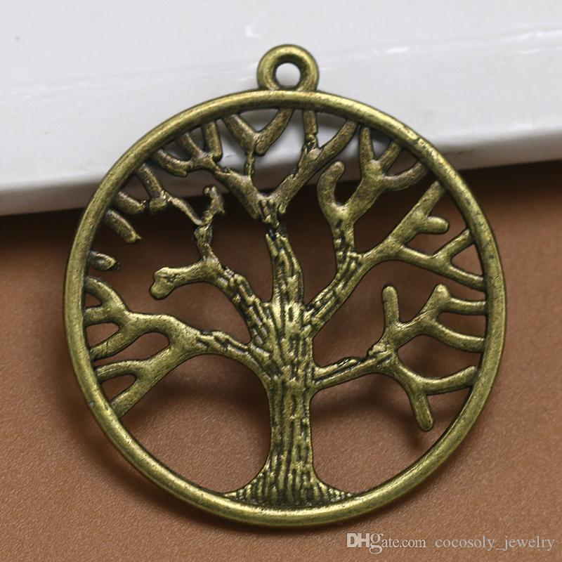 BULK 100 Bronze TREE of Life Circle Charms 25mm Antiqued Bronze Round Textured Tree of Life Connector Link Pendant Instant Ship USA 6490