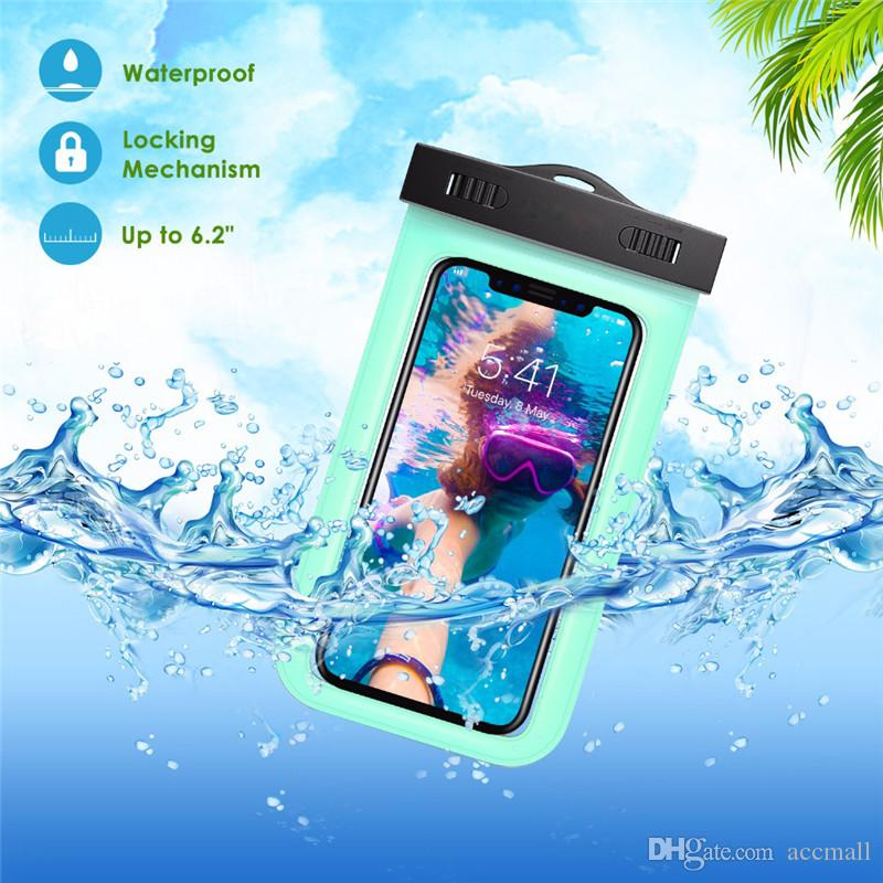 For iPhone XR XS Waterproof Phone Case Universal Multifunction Cell Phone Dry Bag Pouch with Armband Neck Strap for iPhone X 8 7 6 Plus S9