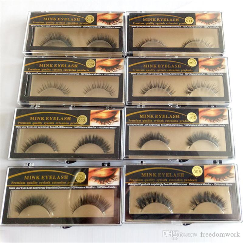 20pirs Mink Eyelash 19 kinds Fake Eyelashes Handmade Natural Long Thick 100% Real Mink Natural ThickEye Lashes epacket free shipping