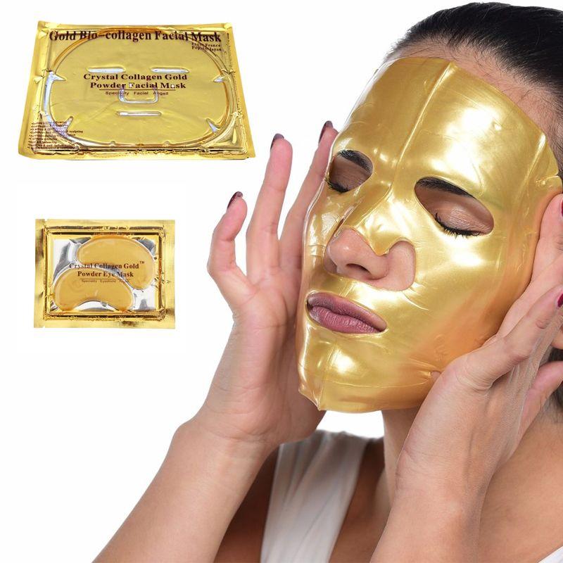 24k Gold Bio Collagen Máscara Facial Máscara de Cristal De Cristal Pó Collagen Facial Máscara Folhas Hidratantes Anti-Envelhecimento Beleza Skin Care Produto