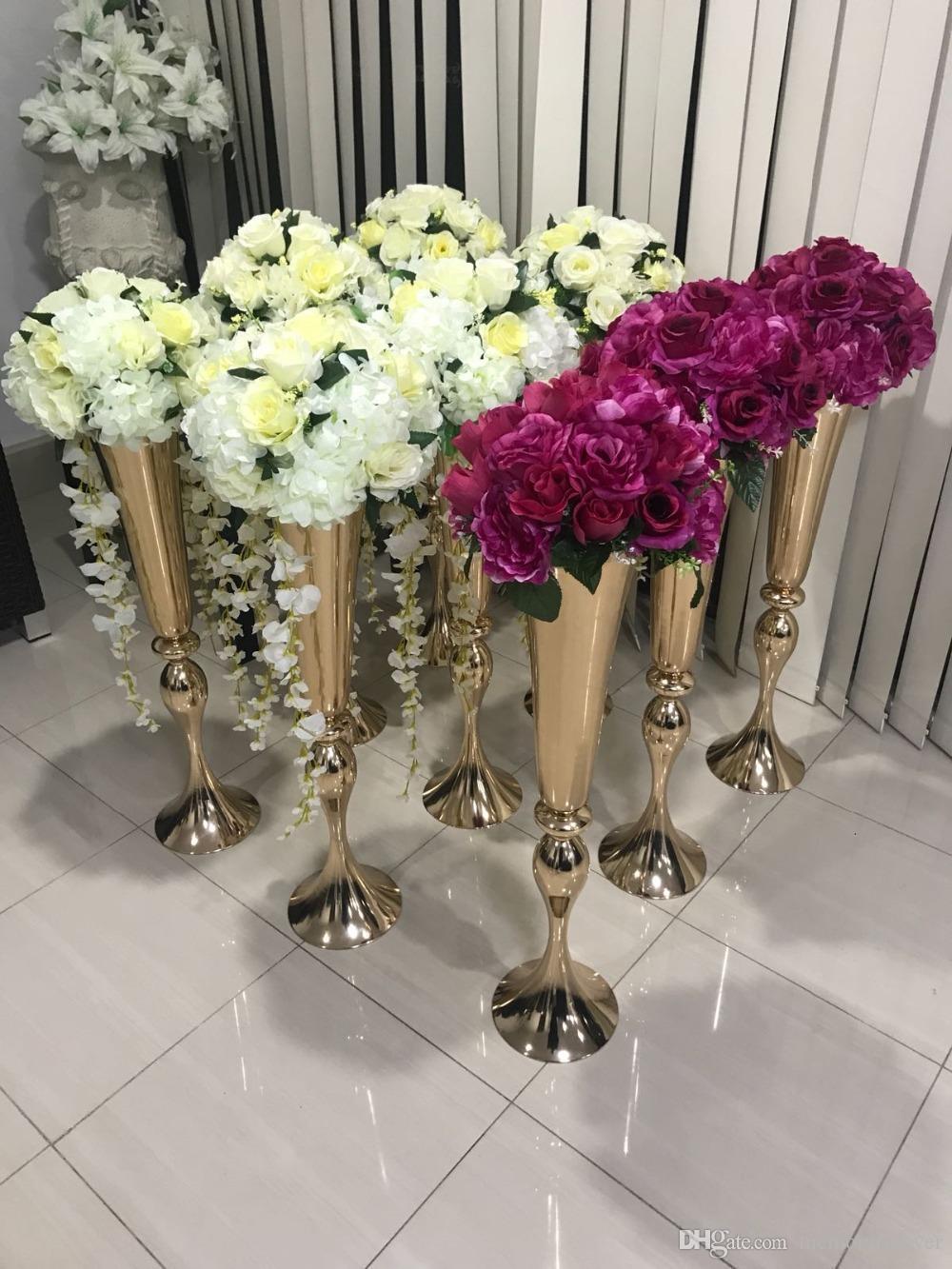 Centre De Table Design acheter vente chaude brillant or mariage fleur vase 75 cm haute table  centre de table en métal trompette vase fleur support stand de mariage