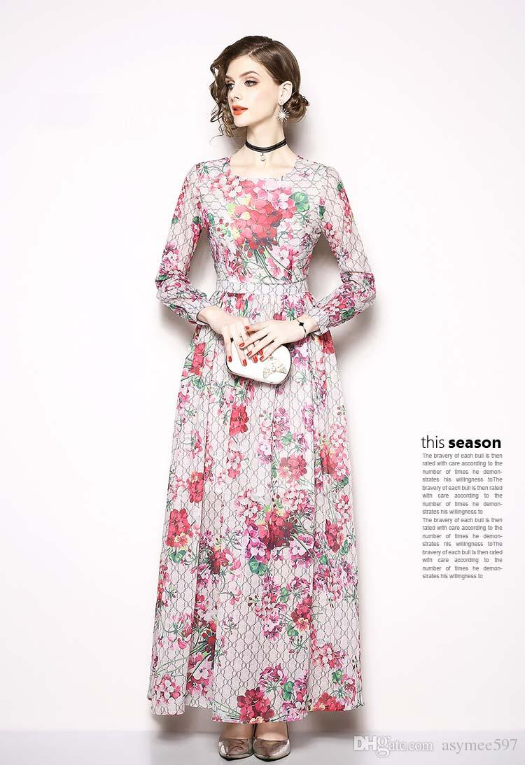 Robe de piste S-3XL mode élégante Dame à l'automne, robes d'impression beauté, manches longues, col rond, une couleur