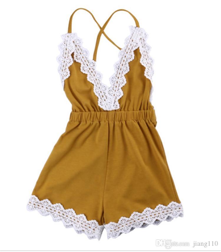 Ins NEW Girl Clothing Outfits Baby girl Tuta con scollo a V in pizzo Pagliaccetto Spaghetti posteriore con cinturino incrociato Giallo Abiti per neonati 2018 Hotsale 0-24M