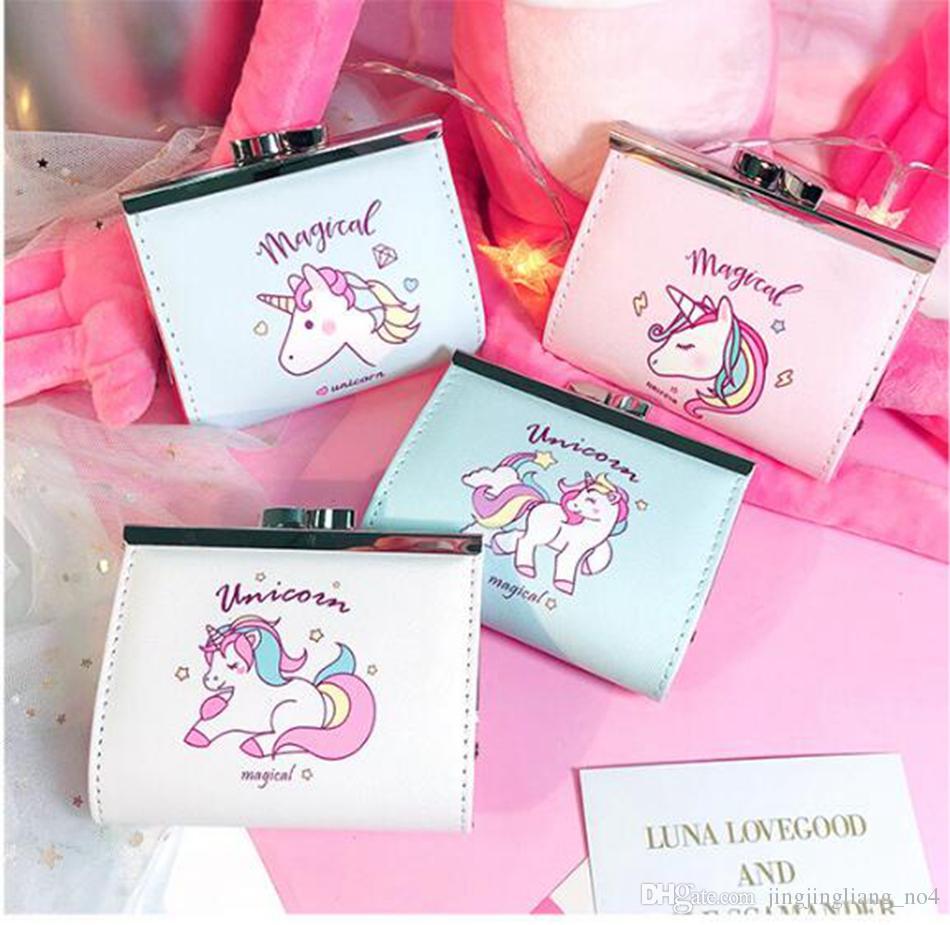 Unicorn Büyülü Düğme Sikke Cüzdan Karikatür Çile PU Deri Kart Tutucu Değişim Para Çantası Debriyaj Çanta Küçük Cep Yaratıcı Öğrencileri AAA81