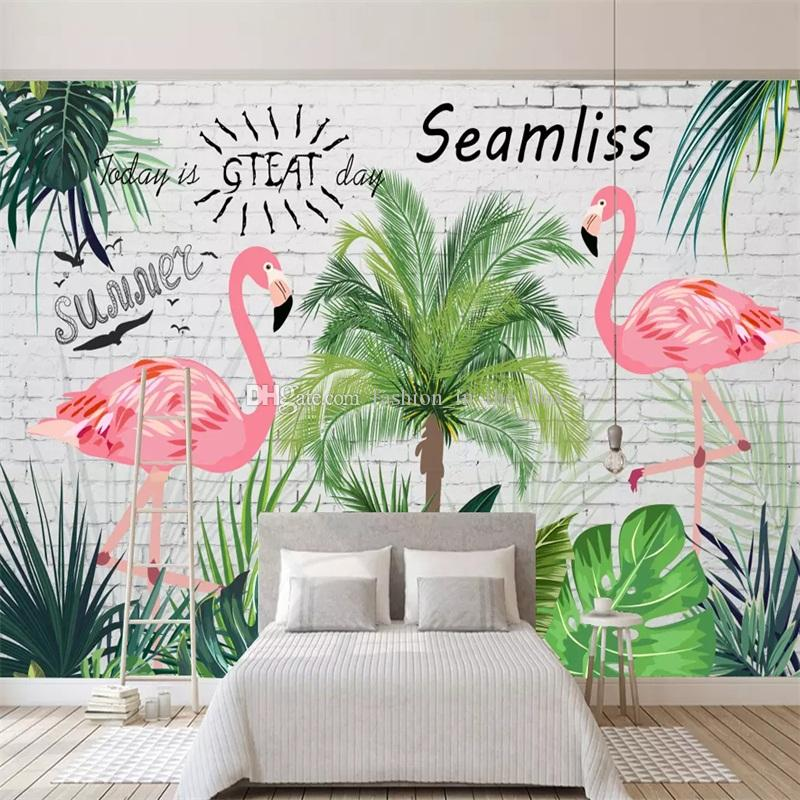 Tropical Rainforest Wallpaper Custom Wall Mural Banana Leaves