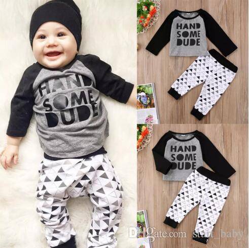 03344f1ad34 2019 Newborn Baby Boys Clothing Top+Pants Set Handsome Dude Letter Print  Black Gray Infant Baby Casual Clothes Toddler Kids Pajamas B11 From  Start baby