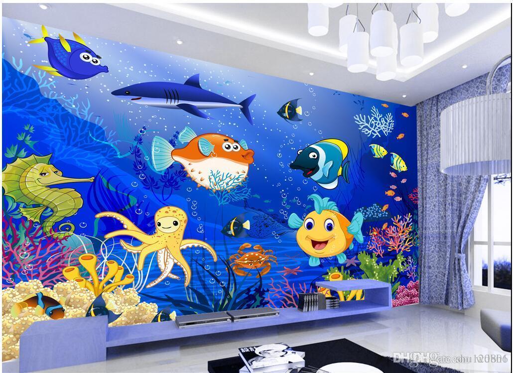Fondo de pantalla de la sala 3D en una pared mural fotográfico personalizado Fondo de pared de mundo de peces de dibujos animados Fondo de murales de pared 3D para paredes 3 d