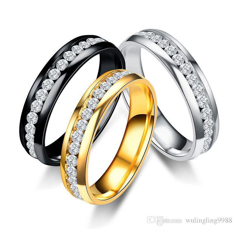 Aço Inoxidável Anéis De Casamento De Cristal Uma Fileira Anéis de diamante Anel de Ouro Anéis de Dedo Anel de Casal banda para Mulheres Homens Jóias de Casamento
