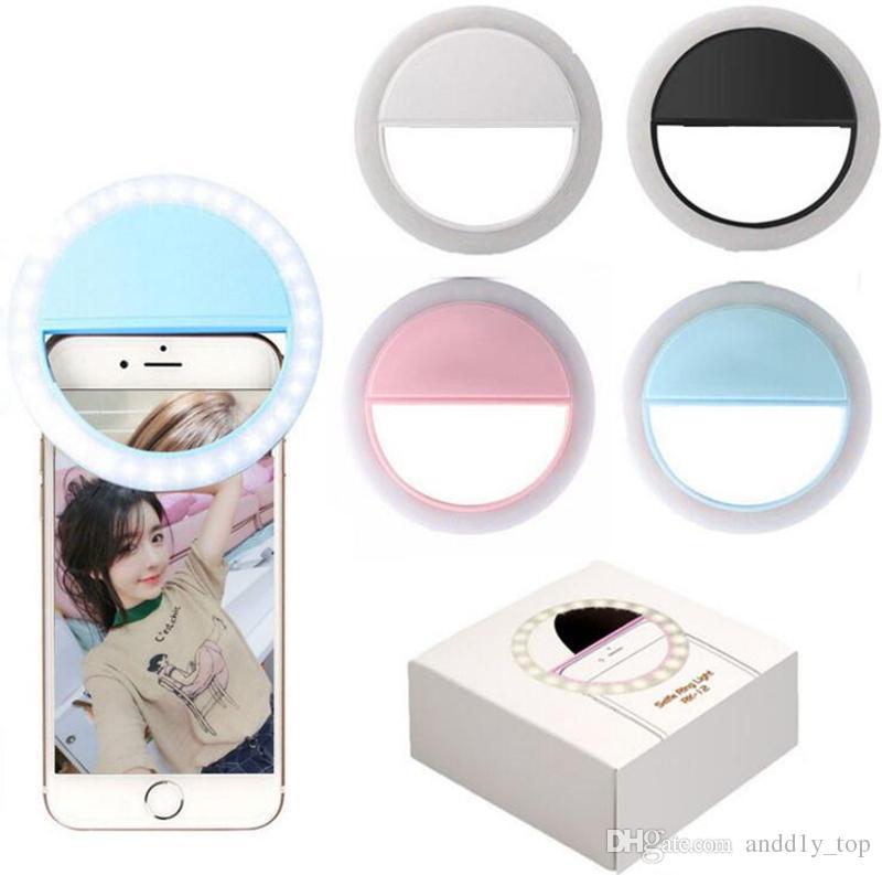 Per l'anello LED Flash Light Iphone X ricaricabile universale di lusso del telefono Smart Active fino selfie luminoso telefono per l'iPhone Android con ricarica USB