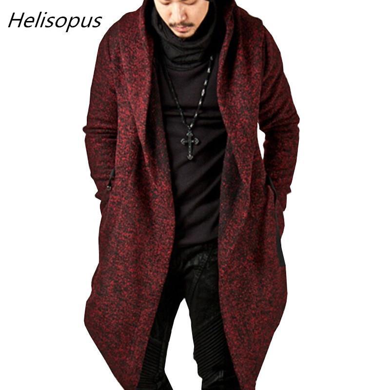 Helisopus Otoño Hombres gótica Fosa de abrigo Negro punky del estilo Capa sólida de la chaqueta con capucha de talla dobladillo irregular del color de los hombres