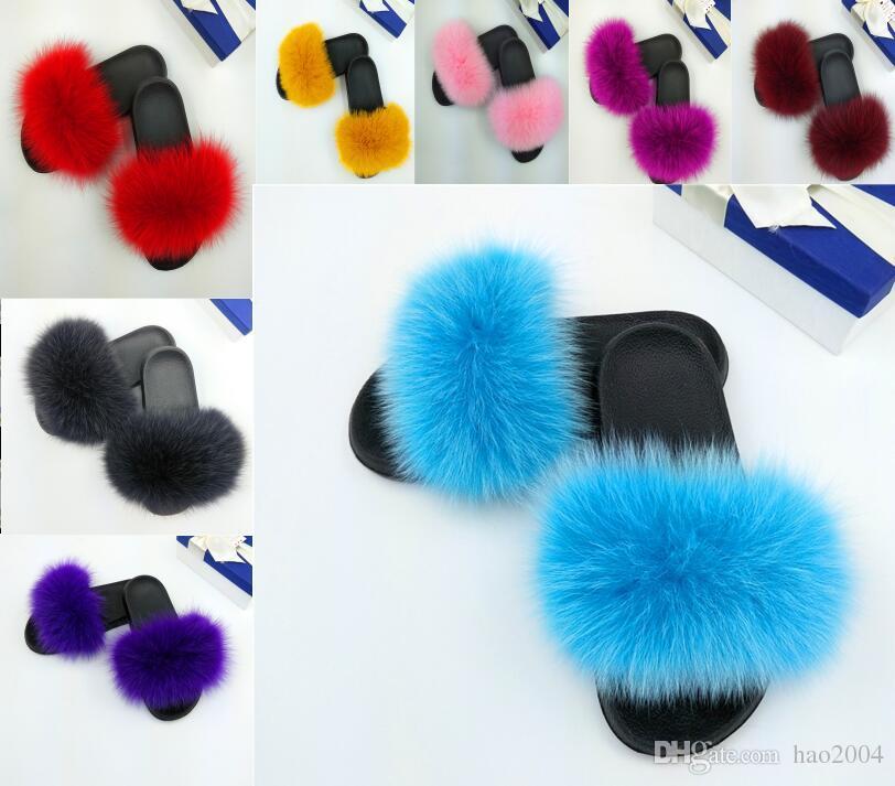 Europäischer Luxuslederfuchspelz, Pelzgleitersandalen, Herren- und Damenschuhe Fenty, mehrfarbige Slipper-Sandalen, Flip-Flops G1.11
