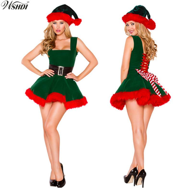 Christmas Fancy Dress.Deluxe Sexy Green Elf Santa Claus Costumes Adult Women Christmas Fancy Dress Costumes Xmas Cosplay Party Costume Nun Costume Cheap Costumes From