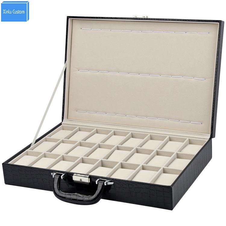 Speziell für Uhrengeschäft / Klein Fall Schmucksacheuhrgeschenk Speicherreise 24 Slots angezeigt caixa Krokodilmuster Boxleder Box Uhren
