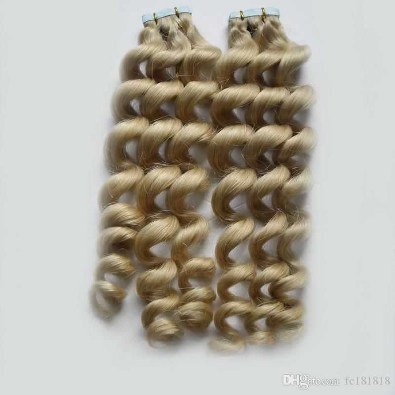 Fita de Trama da pele do Cabelo 40 pcs Remy Tape Em Extensões Do Cabelo Humano Onda Solta Fita Europeia em Extensões Do Cabelo Estilo Do Salão de Beleza