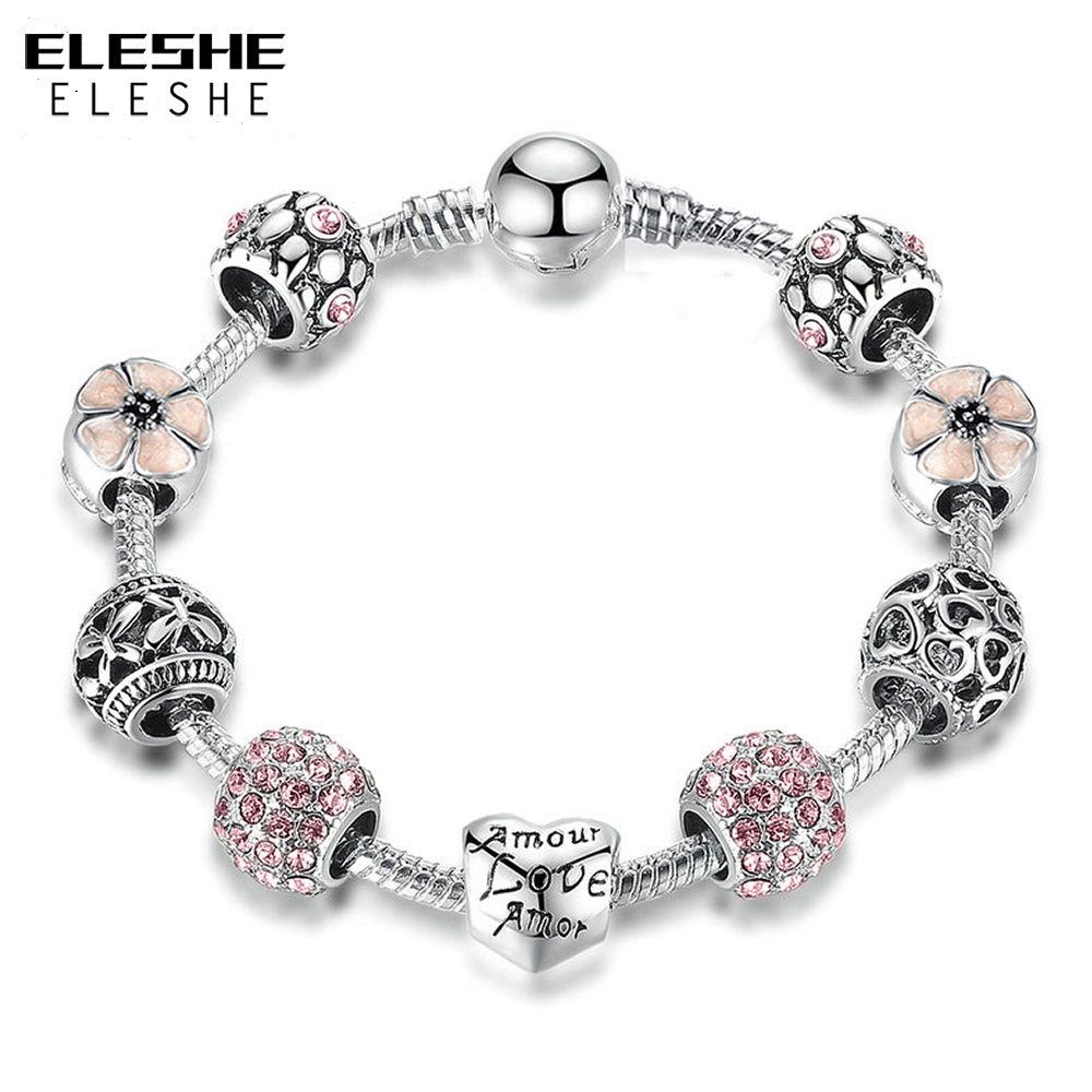 ELESHE 2018 New Unique Silver Charm Bracelet & Bangle with Love Heart Flower Zirconia  Bracelets For Women Wedding Jewelry
