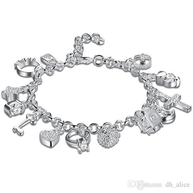 13 llaves de plata esterlina chapada pulsera; Nuevos hombres y mujeres pulsera de plata 925 SPB144 manera de la llegada