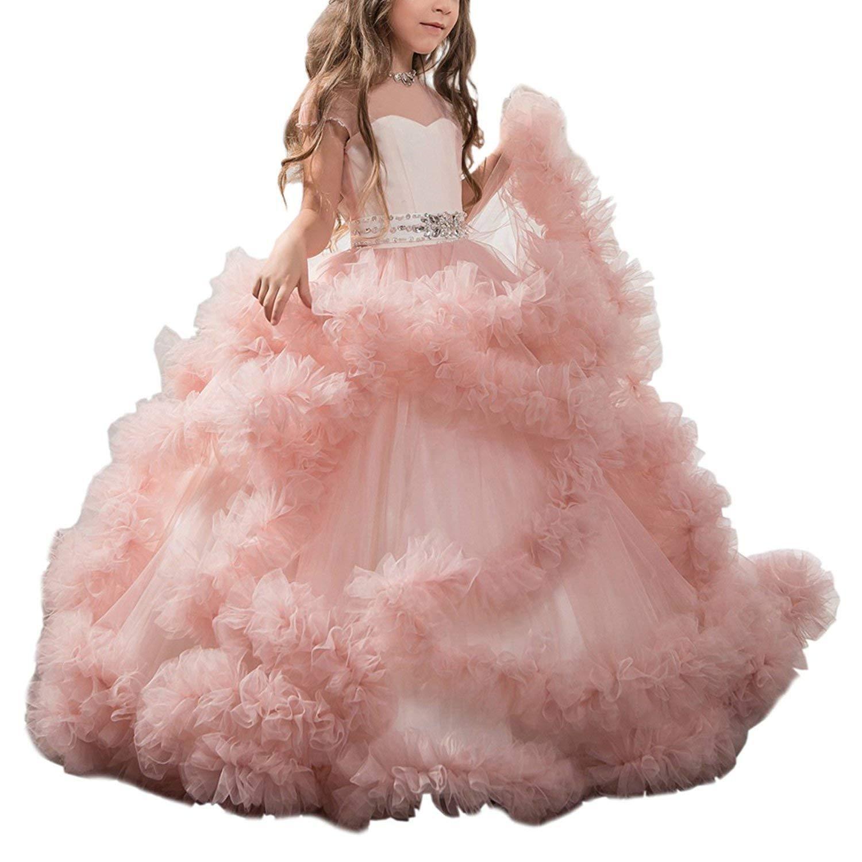 Abiti da spettacolo per ragazza Flower Girl Dress Fancy Tulle Satin Lace Cap Maniche Pageant Girls Ball Gown Pink Ivory