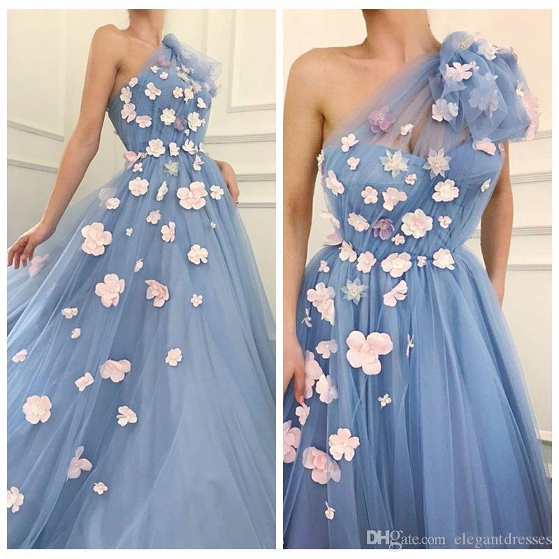 2019 una spalla tulle prom dresses fiori fatti a mano ornata primavera celebrità abiti da festa yong ragazze abiti da sera usura formale