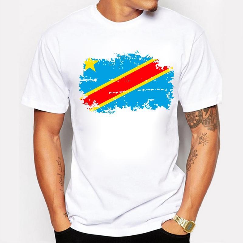 Demokratik Kongo Cumhuriyeti Bayrağı T Shirt Pamuk Serin T-shirt Demokratik Kongo Cumhuriyeti Ulusal Bayrak Tee