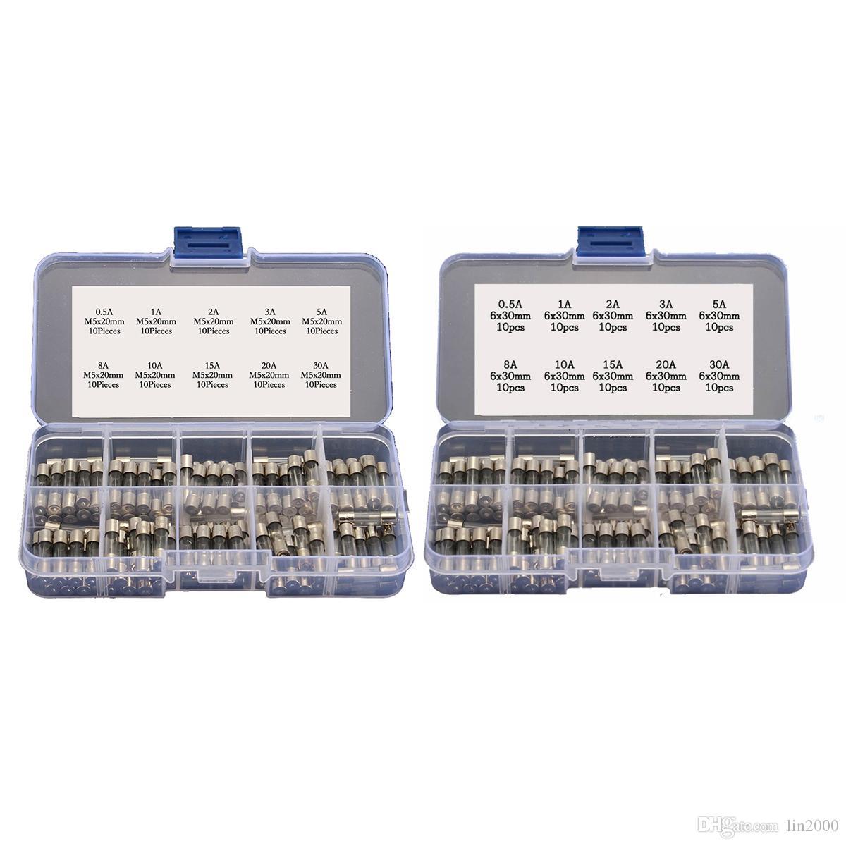 200PCS 5x20mm 6x30mm السريع ضربة الزجاج أنبوب الصمامات تشكيلة كيت 0.5A - 30A 250V