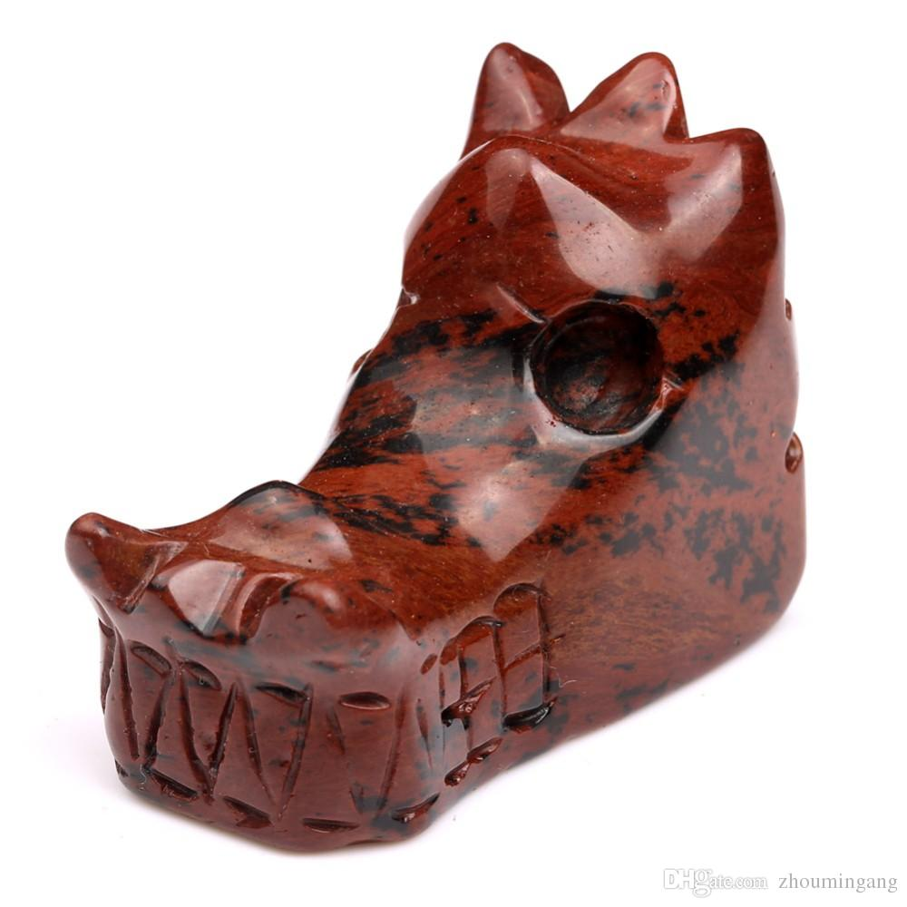 Natural Approx 2 inches Tumble Mahogany Jasper red obsidian Carved Dragon Head Skull Crystal Stone Gemstone Crafts