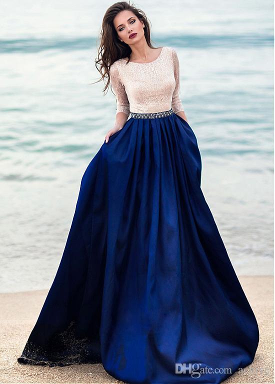 Haute qualité Long Beach Robes de bal avec 3/4 manches perles dentelle sexy Robes de soirée 2020 Party Dresses USA Royaume-Uni Vente en ligne Robe De Soiree