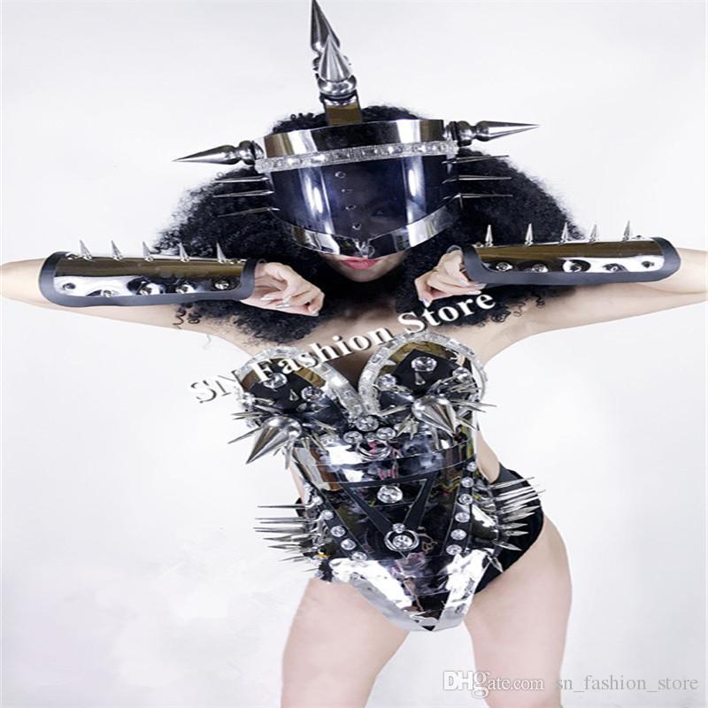 BC59 Stage show sexy rivet mirror silver clothe ballroom dance dress bra bar party ktv helmet robot performance catwalk dj wears costume dj
