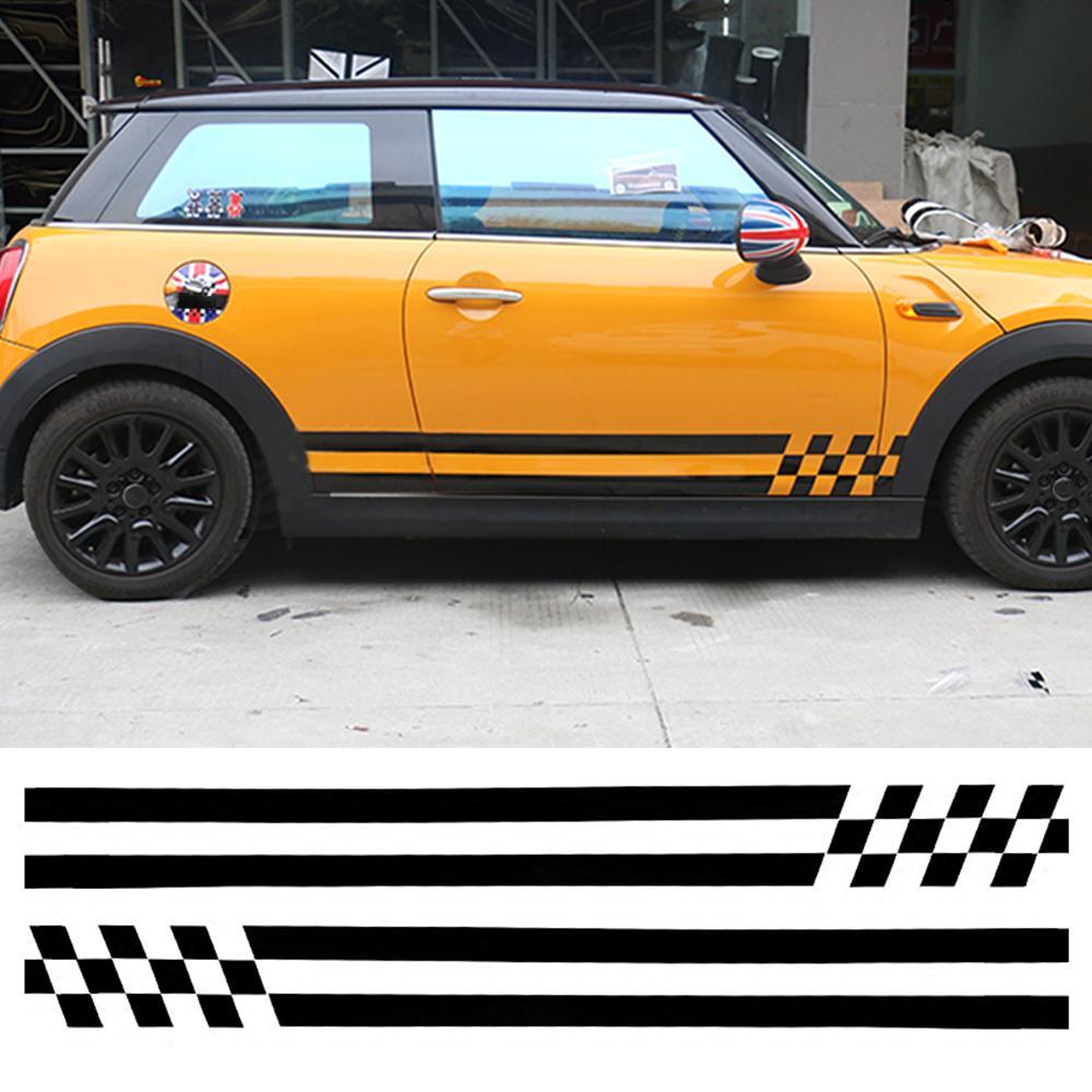 Car Stripes Door Side Skirt Vinyl Decal Car Body Sticker For Mini Cooper One JCW S R60 R55 R56 R61 F55 F56 F54 F60 Countryman Styling