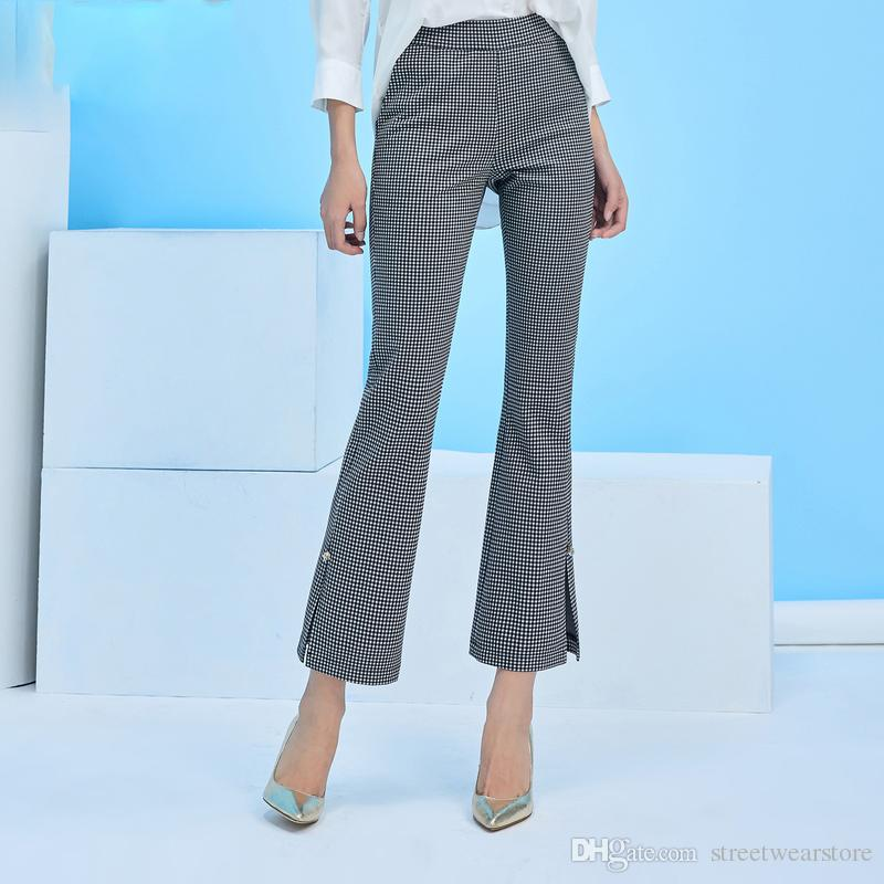 famous brand top-rated authentic entire collection 2018 Spring Women Flare Pants Black White Plaid Split Bell Bottom Trousers  Elegant Office Lady Formal Pants Canada 2019 From Streetwearstore, CAD ...