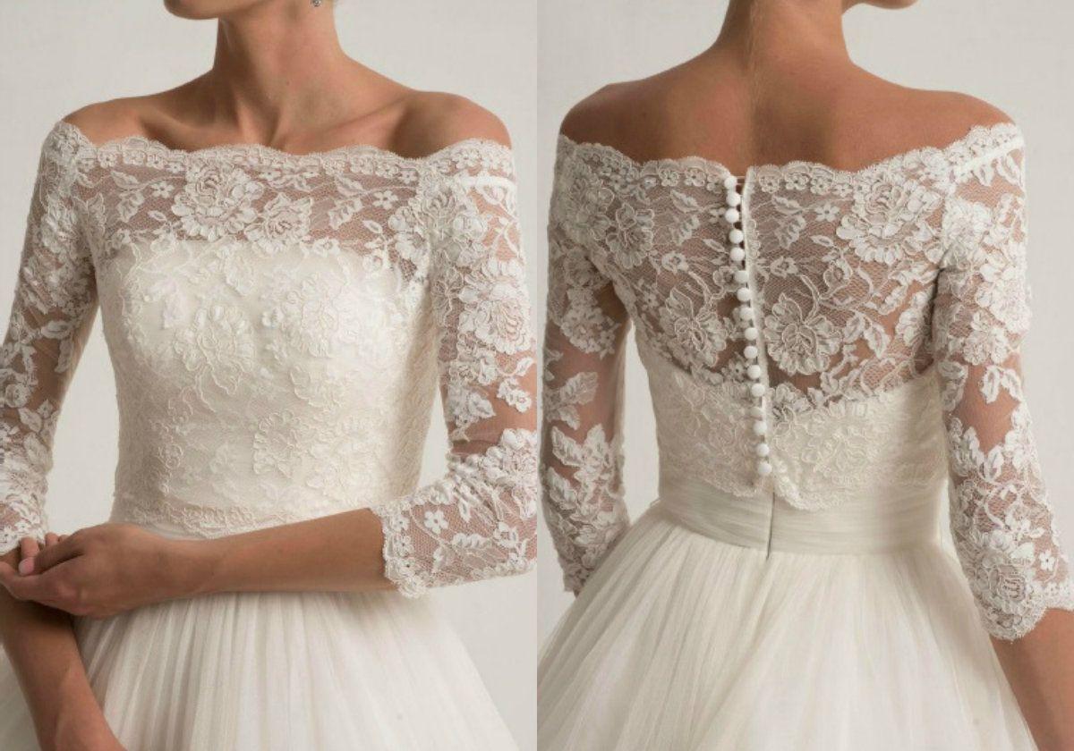 Lace Wedding Jacket For Strapless Wedding Dresses Elegant Long Sleeve Bridal Lace Jackets White Wedding Accessories Applique Ivory Bolero