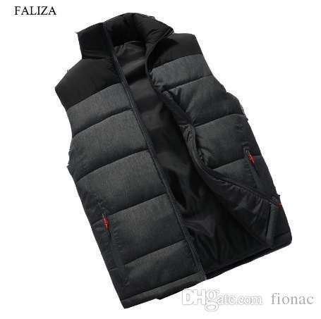 Faliza Nowy Męskie Zimowe Kurtka Bez Rękawów i Płaszcze Męskie Bez Rękawów Warm Down Down Homme Winter Casual Coats 4XL MJ-M