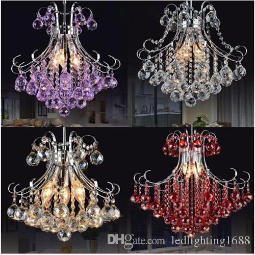 Lampadari di cristallo lampadario K9 50cm Lampadario di lusso rosso viola chiaro Lussuoso americano Comprese lampadine a LED Lampadario a luce bianca calda
