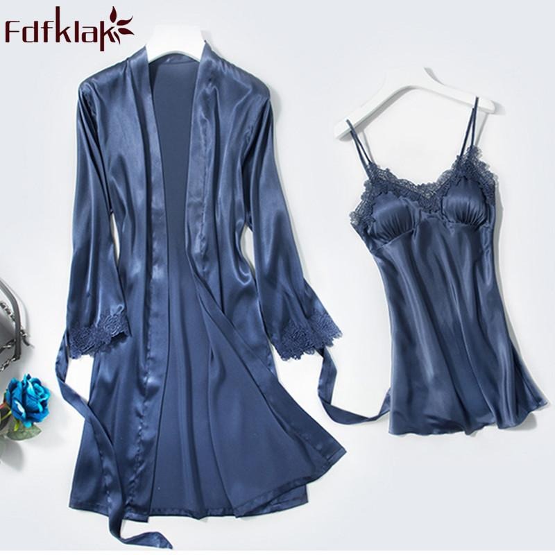 Fdfklak High-grade de duas peças sexy robe set primavera outono robe de seda mulheres manga comprida rendas roupões femininos roupões de banho XXL