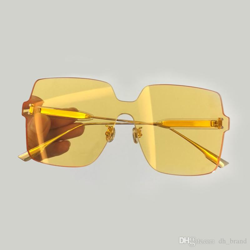 square Rimless sun glass for women high quality colorful women sunglasses brand sunglasses women 2019 with box