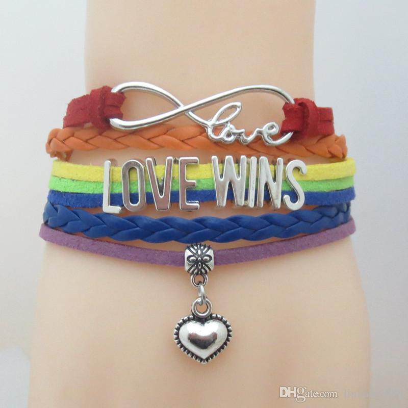 Vendite calde Infinity Love vince il braccialetto di fascino del cuore Braccialetto LGBT Pride Braccialetto per le donne Uomo Regalo per LGBT Gay Pride Braccialetto involucro multistrato