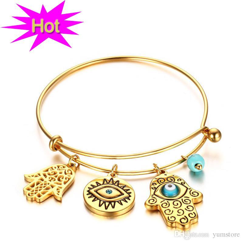 Bracelet En Acier Inoxydable Chaud Femmes Bracelet Plaqué Or Avec Turquoise Pierre Main Charmes Bracelet Bracelet Pour Les Femmes