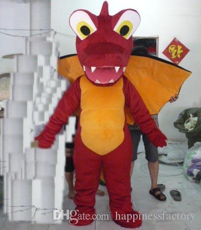2018 İndirim fabrika satış kırmızı yangın ejderha maskot kostüm kanatlı satılık yetişkin giymek için