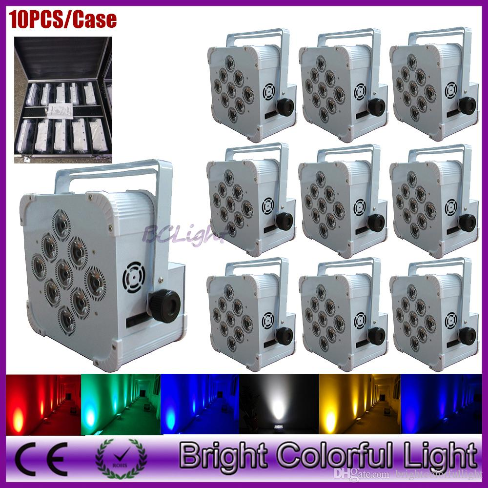 10PCS/Case Guangzhou High quality battery operated wireless dmx 512 led slim par up lighting for wedding decor 9*18w RGBWA UV