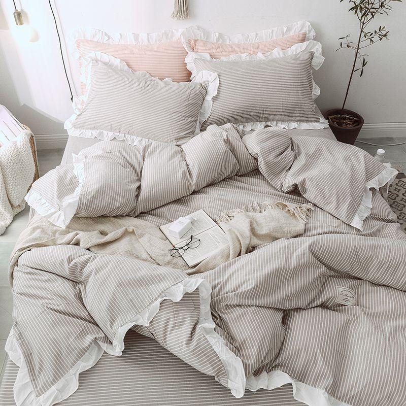 Grey Stripe Bedding With Ruffles Kids, Grey Bedding Teenage Girl