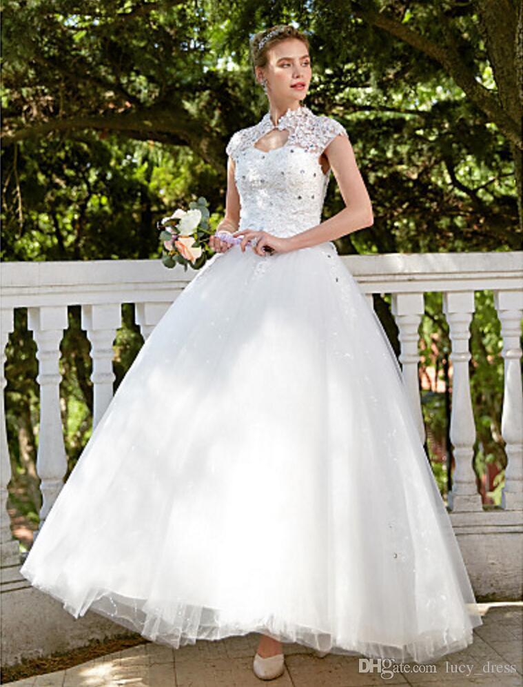 Новая невеста сексуальная высокая шея свадебные платья Applique и бисера роскошные с короткими рукавами шариковины свадебное платье с петтику