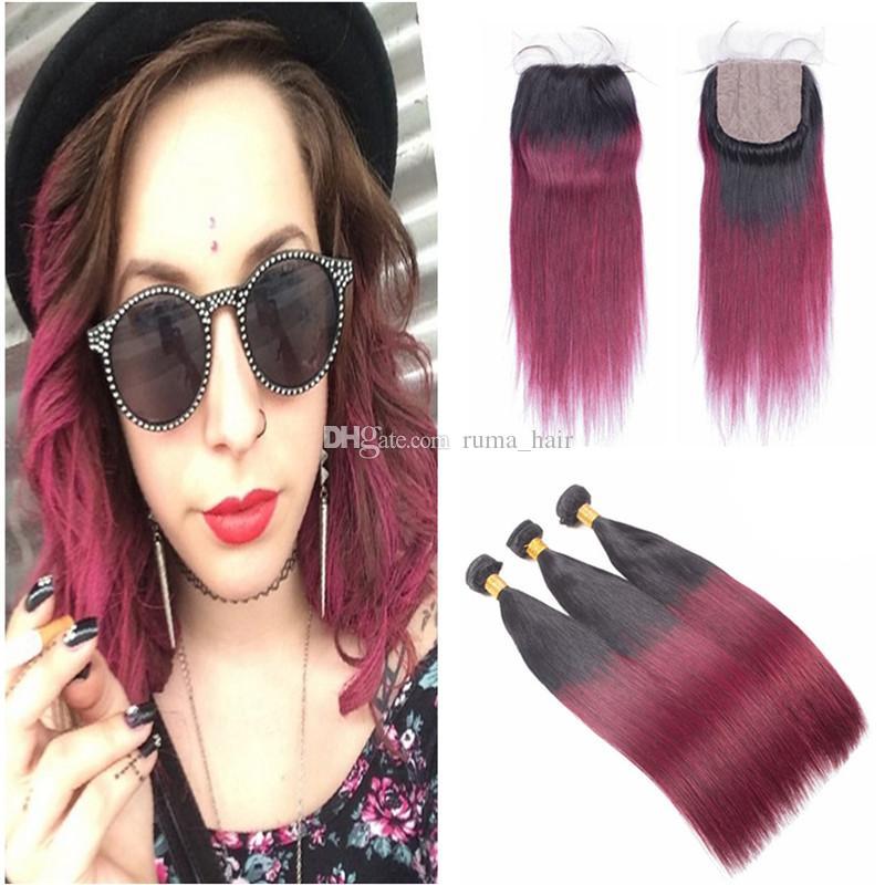 Human Hair Bundles With Silk Base Closure Straight 8A Grade Unprocessed Malaysian Virgin Hair Weaves With 99j Silk Lace Closure 4*4 inch