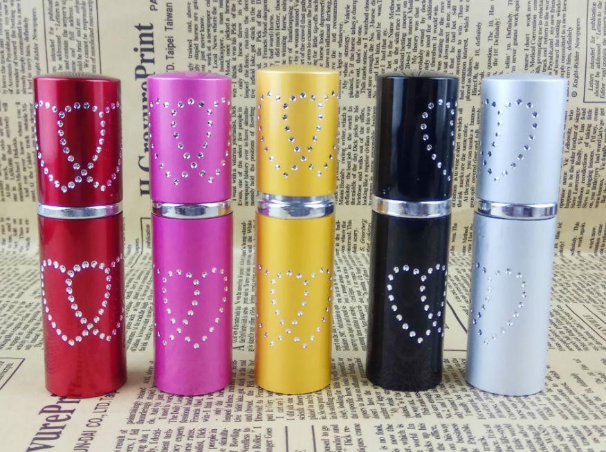 10 ml Mini Spray Botella de Perfume de Viaje Reciclable Contenedor Cosmético Vacío bling diamante corazón Atomizador de vidrio de Aluminio
