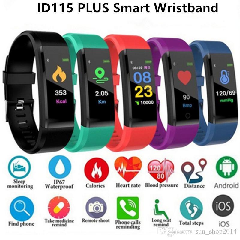Écran LCD ID115 plus intelligent Bracelet Fitness Tracker Podomètre Montre bande de fréquence cardiaque Tensiomètre intelligent Wristband