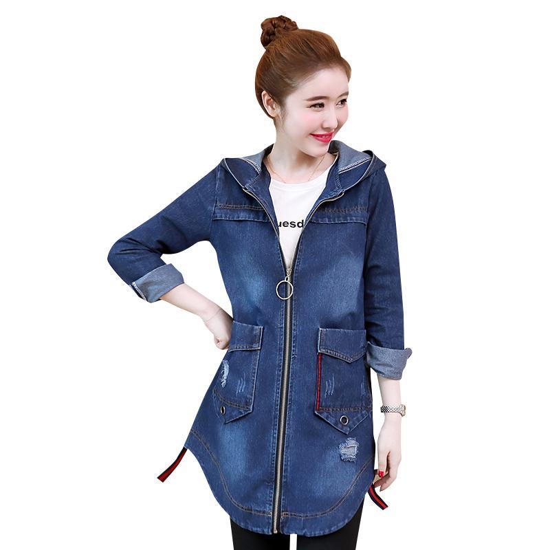 2018 Frauen Denim Jacke Langarm mit Kapuze Schlank Mittlere Länge S-3XL 5XL Plus Größe Jeans Jacke Vintage Jeans Basic Mantel weiblich
