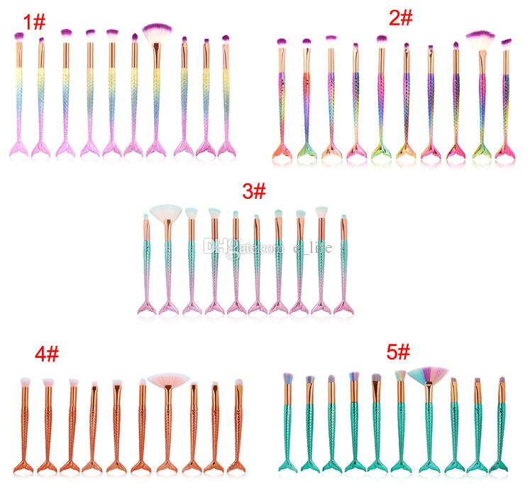 Nuevo 10cs / set Pinceles de maquillaje de sirena Conjuntos 3D Pinceles de maquillaje de sirena de colores Base en Polvo Crema Blush Fish Tail maquillaje cepillos
