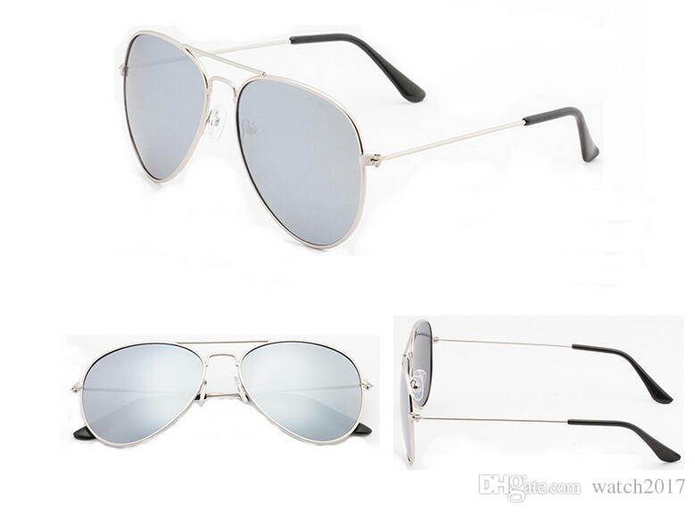 серебро 58 мм чехол китай 5 шт. роскошные модные новые стеклянные линзы мужчины женщины пилот солнцезащитные очки спортивные солнцезащитные очки с коробкой